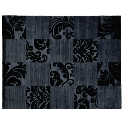Super Tibetan Hand-Knotted Navy Blue Area Rug Rug Size: Rectangle 9 x 12
