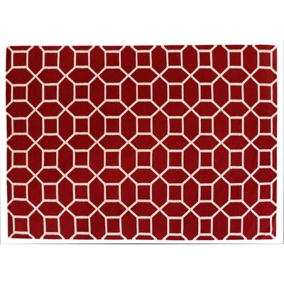 Hand-Woven Wool Red/Cream Area Rug Rug Size: Rectangle 5 x 8