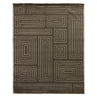 Hand-Knotted Wool/Silk Khaki/Beige Area Rug Rug Size: Rectangle 12 x 15