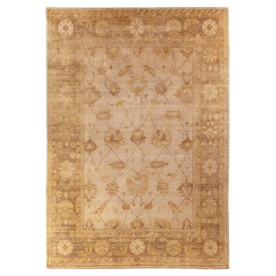 Oushak Hand-Knotted Wool Brown Area Rug Rug Size: Rectangle 9 x 12