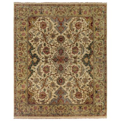 Polonaise Hand Knotted Wool Cream/Brown Area Rug Rug Size: Rectangle 10 x 14