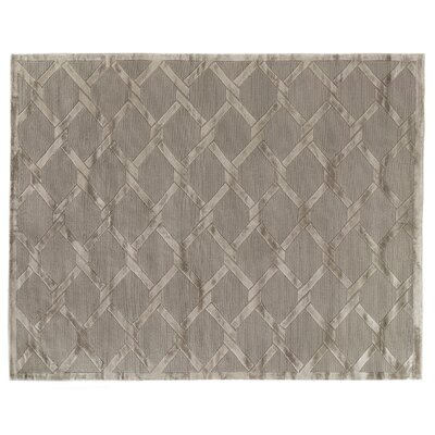 Hand-Knotted Wool/Silk Gray/Brown Area Rug Rug Size: Rectangle 8 x 10