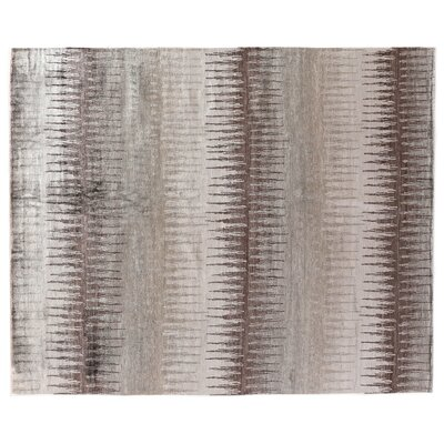 Hand-Knotted Silk Gray/Brown Area Rug Rug Size: Rectangle 14 x 18