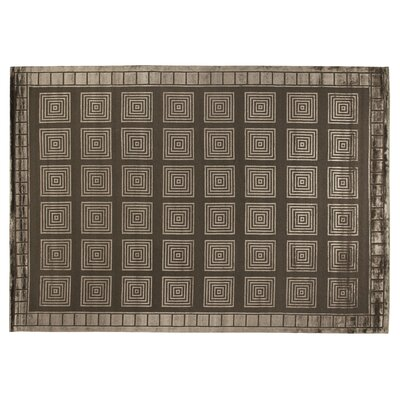 Hand-Knotted Wool/Silk Khaki Area Rug