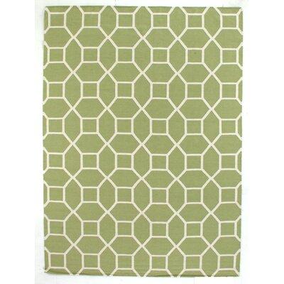 Hand-Woven Wool Light Green/White Area Rug