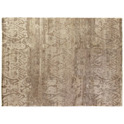 Antiqued Hand-Knotted Silk Beige Area Rug Rug Size: Rectangle 6 x 9