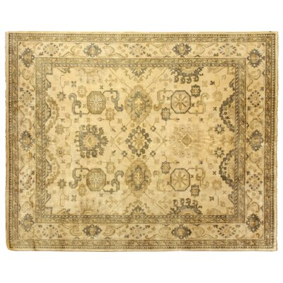 Oushak Hand-Knotted Wool Ivory/Gray Area Rug Rug Size: Rectangle 6 x 9