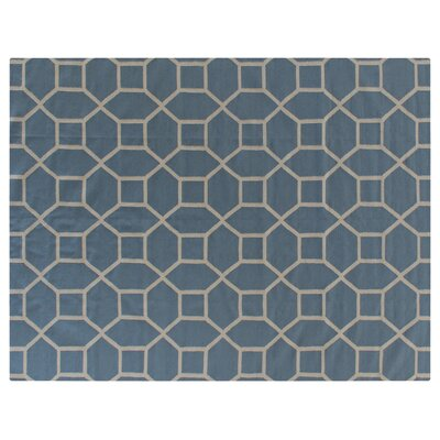 Hand-Woven Wool Blue Area Rug Rug Size: Rectangle 8 x 11