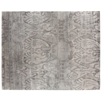 Antique'd Hand-Knotted Silk Brown Area Rug Rug Size: Rectangle 9' x 12'