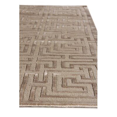 Hand-Knotted Wool Brown Area Rug Rug Size: Rectangle 10 x 14