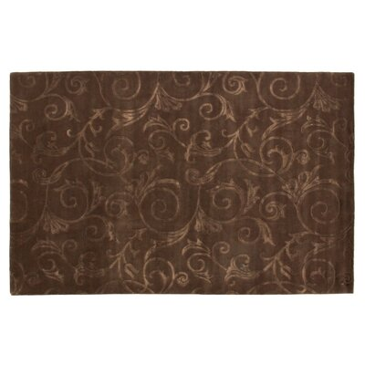 Hand-Knotted Wool/Silk Chocolate Area Rug Rug Size: Rectangle 6 x 9