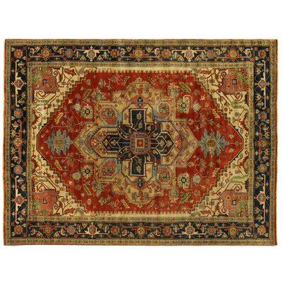 Serapi Hand-Knotted Wool Red/Black Area Rug Rug Size: Rectangle 6 x 9
