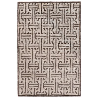 Hand-Knotted Silk Dark Brown Area Rug Rug Size: Rectangle 8 x 10