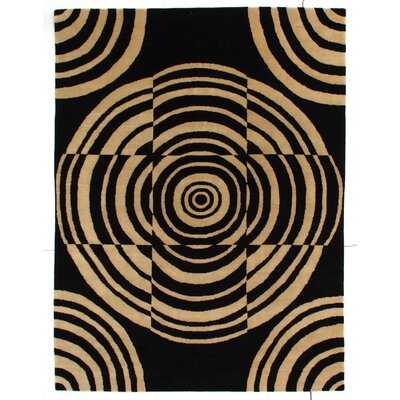 Metropolitan Hand Knotted Wool Black/Ivory Area Rug Rug Size: Rectangle 9 x 12