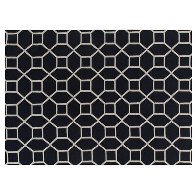 Hand-Woven Wool Navy/White Area Rug Rug Size: Rectangle 5 x 8