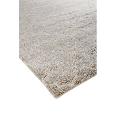 Luxe Look Hand-Knotted Silk Beige Area Rug Rug Size: Rectangle 6' x 9'