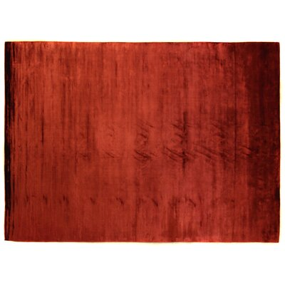 Plain Dove Hand-Woven Silk Red Area Rug Rug Size: Rectangle 14 x 18