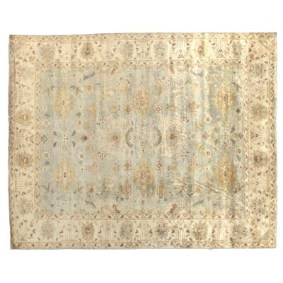 Oushak Hand-Knotted Wool Ivory/Blue Area Rug Rug Size: Rectangle 15 x 20