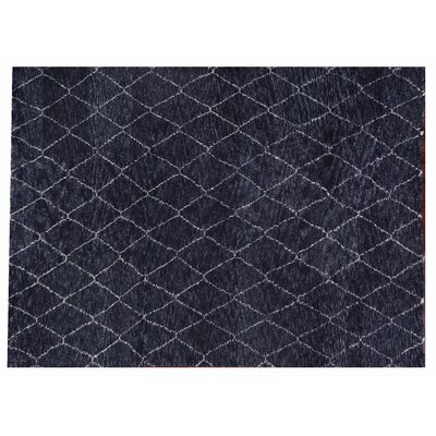 Moroccan Hand Knotted Wool Charcoal Area Rug Rug Size: Rectangle 6 x 9