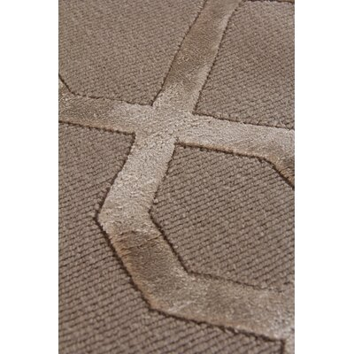 Hand-Knotted Wool/Silk Brown Area Rug Rug Size: Rectangle 10 x 14