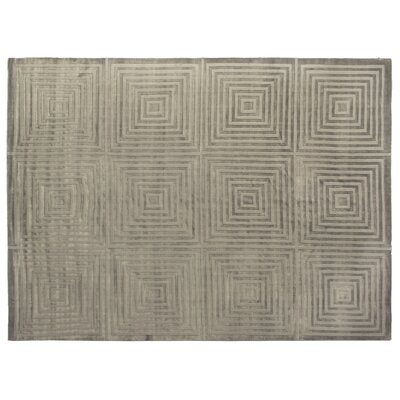 Embossed Hand Woven Silk Dark Gray Area Rug Rug Size: Rectangle 8 x 10