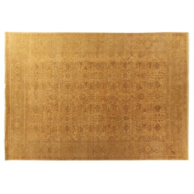 Ziegler Hand-Knotted Wool Gold Area Rug Rug Size: Rectangle 9 x 12