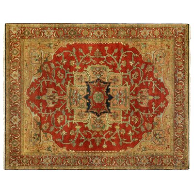 Serapi Hand-Knotted Wool Red Area Rug Rug Size: Rectangle 14 x 18