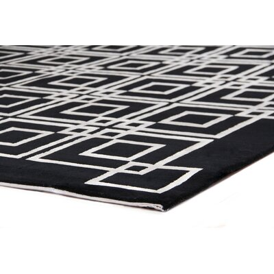 Hand-Knotted Wool/Silk Black/White Area Rug