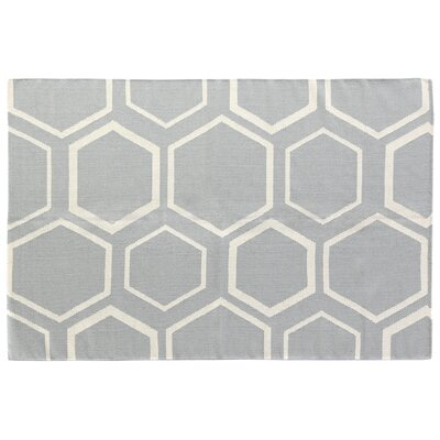 Hand-Woven Wool Light Blue Area Rug