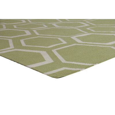 Hand-Woven Wool Light Green/White Area Rug Rug Size: Rectangle 8 x 11