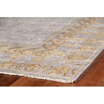 Khotan Hand-Knotted Wool Gray/Gold Area Rug Rug Size: Rectangle 6 x 9