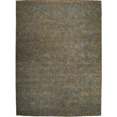 Metropolitan Hand-Knotted Wool Blue/Gold Area Rug Rug Size: Rectangle 9 x 12