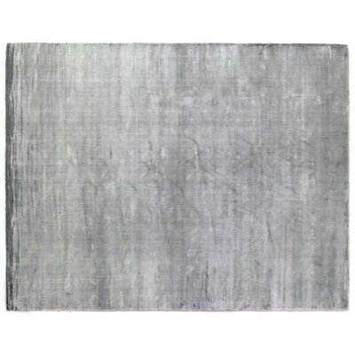Plain Dove Hand-Knotted Silk Gray Area Rug Rug Size: Rectangle 14 x 18