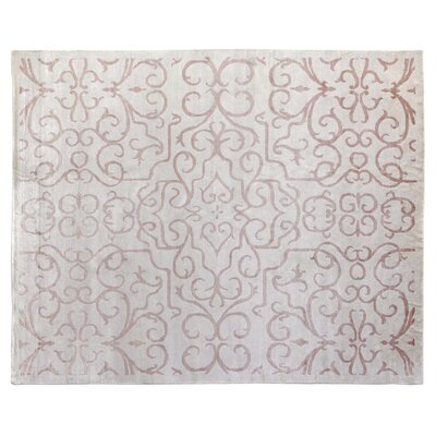 Hand-Knotted Light Pink Area Rug Rug Size: Rectangle 14 x 18