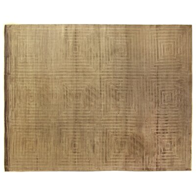 Embossed Hand Woven Silk Light Beige Area Rug Rug Size: Rectangle 14 x 18