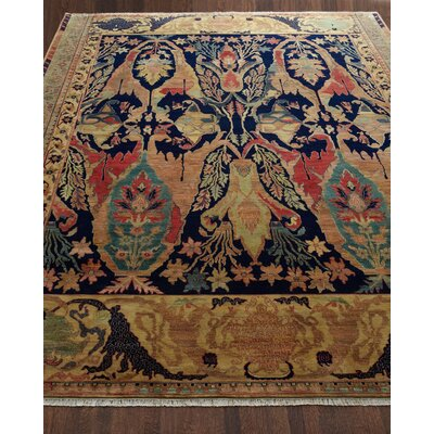 Jurassic Hand-Knotted Wool Blue/Brown Area Rug Rug Size: Rectangle�4 x 6