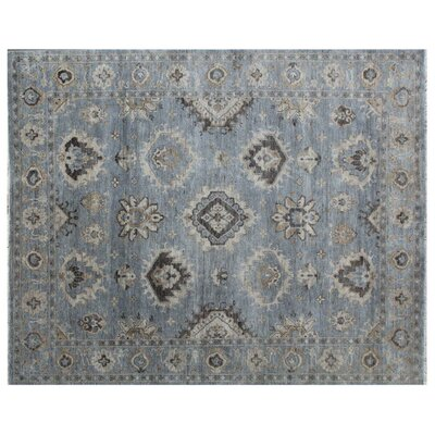 Oushak Hand-Knotted Wool Blue/Gray Area Rug Rug Size: Rectangle�6 x 9