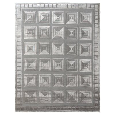 Hand-Knotted Wool/Silk Silver/Gray Area Rug Rug Size: Rectangle 14 x 18