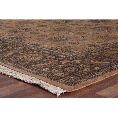Moghul Hand-Knotted Wool Brown/Mocha Area Rug Rug Size: Rectangle 10 x 14