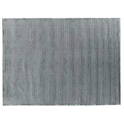 Hand-Knotted Wool/Silk Ivory/Silver Area Rug Rug Size: Rectangle 8 x 10