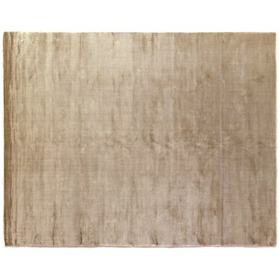 Plain Dove Hand-Knotted Silk Beige Area Rug Rug Size: Rectangle 15 x 20