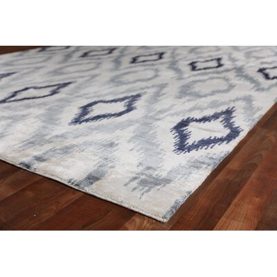 Ikat Hand-Knotted Silk Blue/Gray Area Rug Rug Size: Square 8