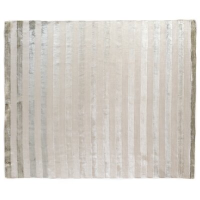 Tunnel Hand-Knotted Silk Silver/Beige Area Rug Rug Size: Rectangle 10 x 14