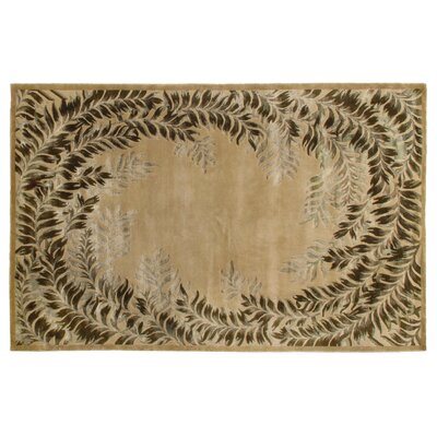 Super Tibetan Hand Knotted Wool/Silk Beige Area Rug Rug Size: Rectangle 5 x 8