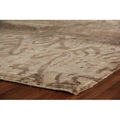 Antiqued Hand-Knotted Silk Beige Area Rug Rug Size: Rectangle 10 x 14