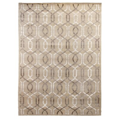 Hand-Knotted Wool/Silk Beige Area Rug Rug Size: Rectangle 14 x 18