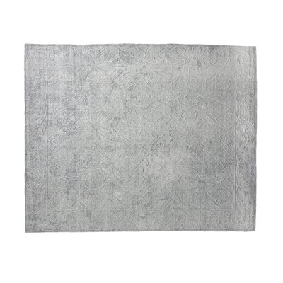 Iris Hand Woven Silk Light Silver Area Rug Rug Size: Rectangle 14 x 18
