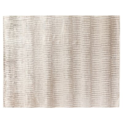 Ikat Hand-Woven Silk Light Gray Area Rug Rug Size: Rectangle 10 x 14