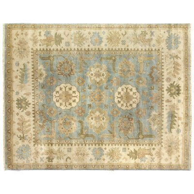 Oushak Hand-Knotted Wool Beige/Blue Area Rug Rug Size: Rectangle�6 x 9