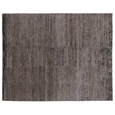 Crush Hand Knotted Silk Charcoal/Gray Area Rug Rug Size: Rectangle 14 x 18